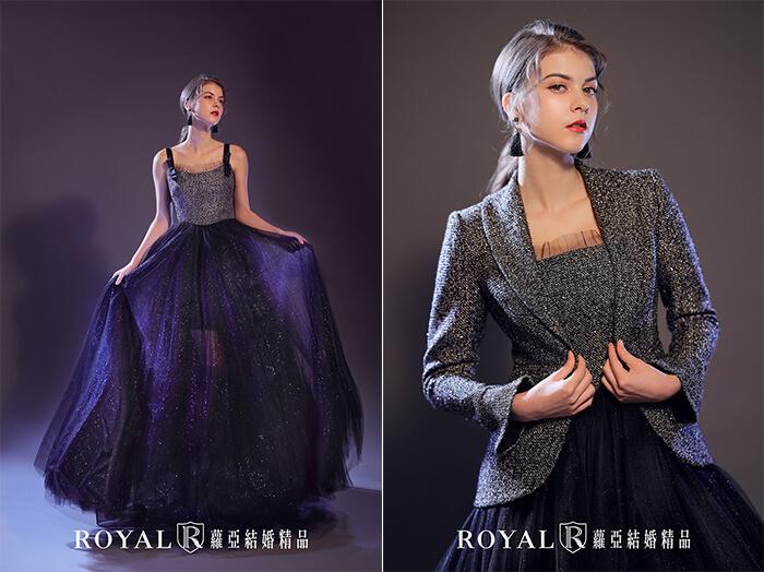 2020婚紗推薦-2020婚紗趨勢-流行婚紗禮服款式-前衛的當代時尚風-蘿亞晚禮服-兩穿式西裝外套星空藍時尚禮服1