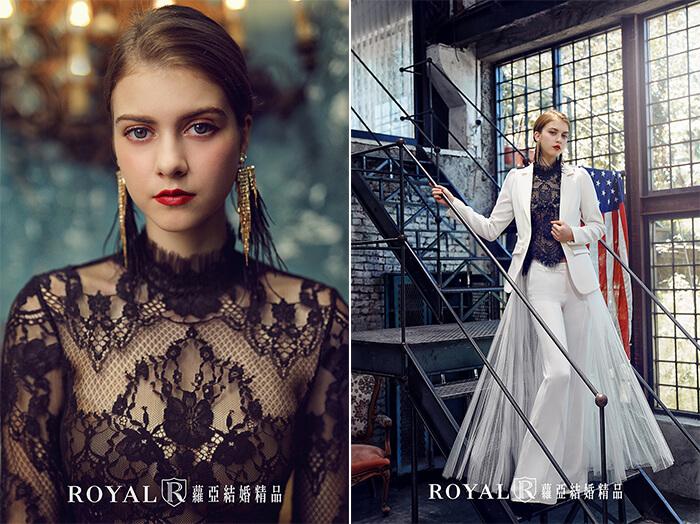 2020婚紗推薦-2020婚紗趨勢-流行婚紗禮服款式-前衛的當代時尚風-蘿亞晚禮服-兩穿式西裝外套褲裝婚紗