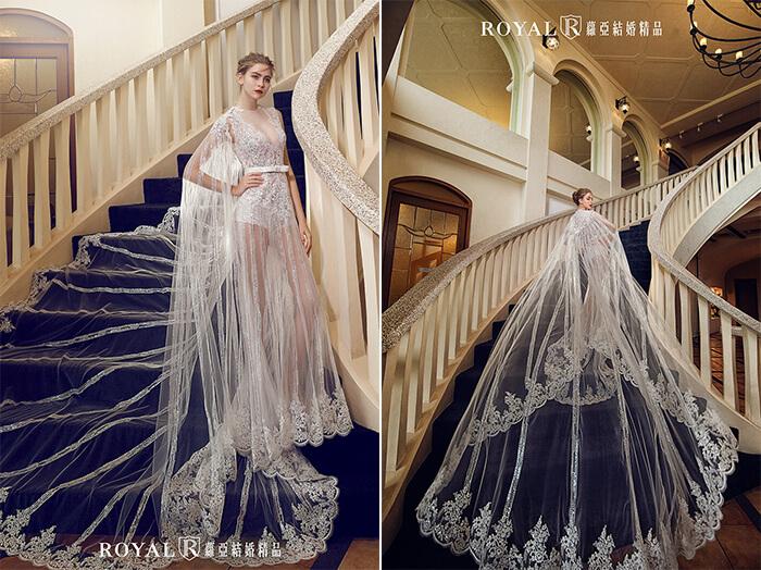 2020婚紗推薦-2020婚紗趨勢-流行婚紗禮服款式-前衛的當代時尚風-蘿亞白紗-三穿式長披肩時尚褲裝裸紗