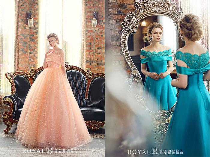 2020婚紗推薦-2020婚紗趨勢-流行婚紗禮服款式-文藝復興的羅蔓蒂克-蘿亞晚禮服-肩袖點點花粉橘蓬裙-孔雀藍緞布禮服