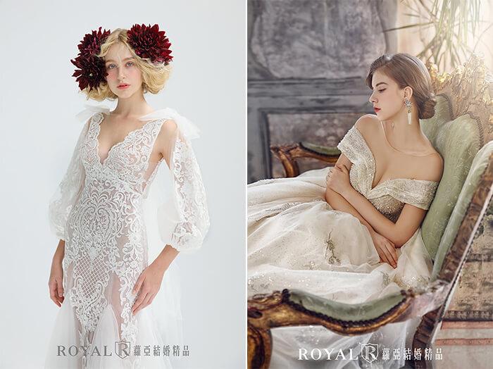 2020婚紗推薦-2020婚紗趨勢-流行婚紗禮服款式-文藝復興的羅蔓蒂克-蘿亞白紗-燈籠袖透膚裸紗-肩袖深V蓬裙白紗