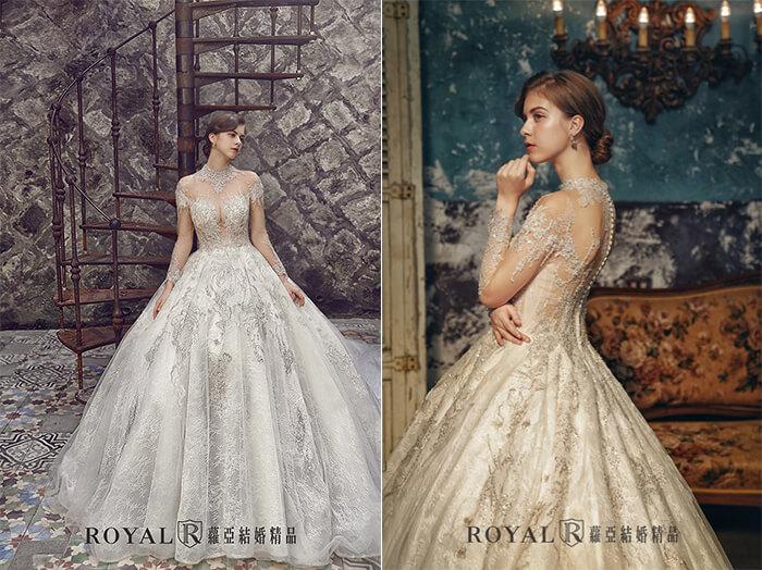 2020婚紗推薦-2020婚紗趨勢-流行婚紗禮服款式-文藝復興的羅蔓蒂克-蘿亞白紗-裸式宮廷煙花刺繡白紗
