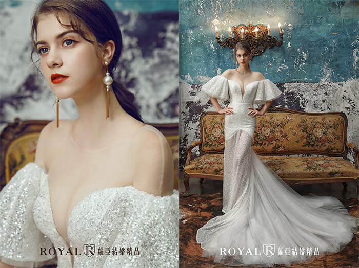 2020婚紗推薦-2020婚紗趨勢-流行婚紗禮服款式-文藝復興的羅蔓蒂克-蘿亞白紗-類卡肩喇叭袖透膚裸紗