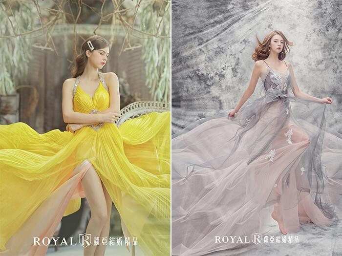 2020婚紗推薦-2020婚紗趨勢-流行婚紗禮服款式-現代的波希米亞風Boho-蘿亞晚禮服-雪紡金黃裸紗-法式藕荷色透膚裸紗