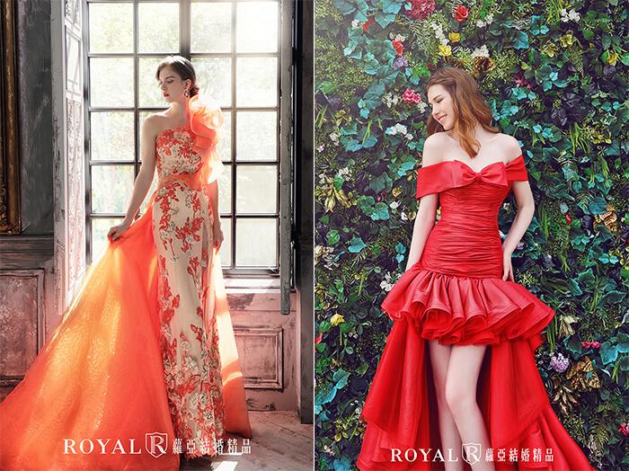 2020婚紗推薦-2020婚紗趨勢-流行婚紗禮服款式-紅毯女明星的魅力-蘿亞晚禮服-橘金雙色刺繡蕾絲荷葉禮服-前短後長紅色塔夫塔綢立體波浪禮服