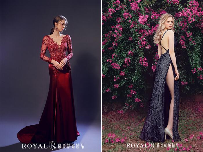 2020婚紗推薦-2020婚紗趨勢-流行婚紗禮服款式-紅毯女明星的魅力-蘿亞晚禮服-酒紅葉形V領透膚緞面禮服-黑色亮片深V幾何紋高衩禮服
