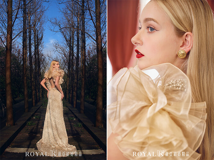 2020婚紗推薦-2020婚紗趨勢-流行婚紗禮服款式-紅毯女明星的魅力-蘿亞晚禮服-雷射切割立體牡丹U型美背禮服