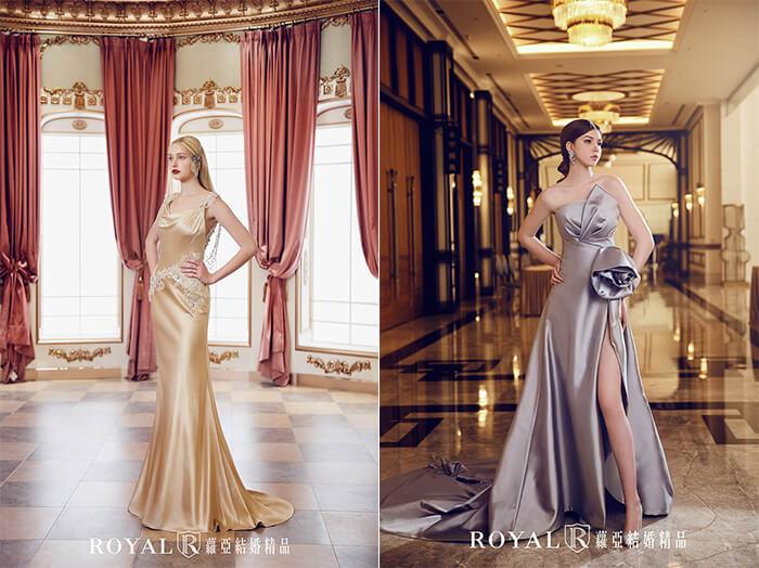 2020婚紗推薦-2020婚紗趨勢-流行婚紗禮服款式-紅毯女明星的魅力-蘿亞晚禮服-香檳金珠袖美背禮服-高衩銀灰立體捲花緞面禮服