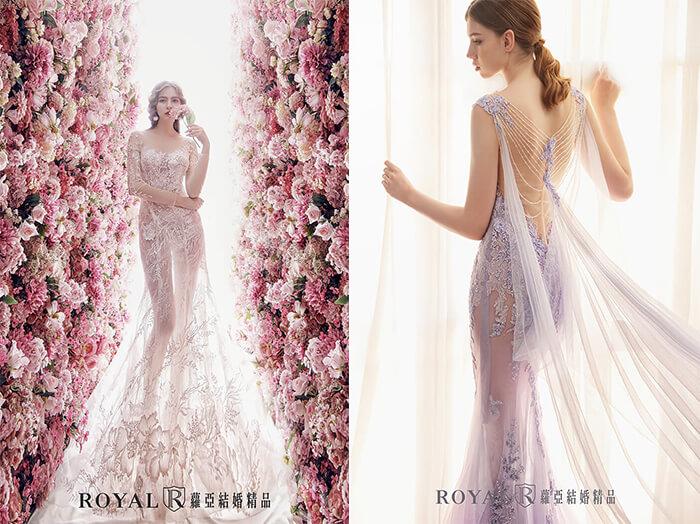 2020婚紗推薦-2020婚紗趨勢-流行婚紗禮服款式-羅曼蒂克的氣氛-蘿亞白紗-蘿亞晚禮服-穿透感粉膚花裸紗-丁香紫透膚裸紗