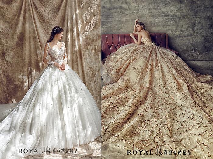 2020婚紗推薦-2020婚紗趨勢-流行婚紗禮服款式-羅曼蒂克的氣氛-蘿亞白紗-蘿亞晚禮服-透膚立體蕾絲花蓬裙-金線印花蕾絲宮廷蓬裙