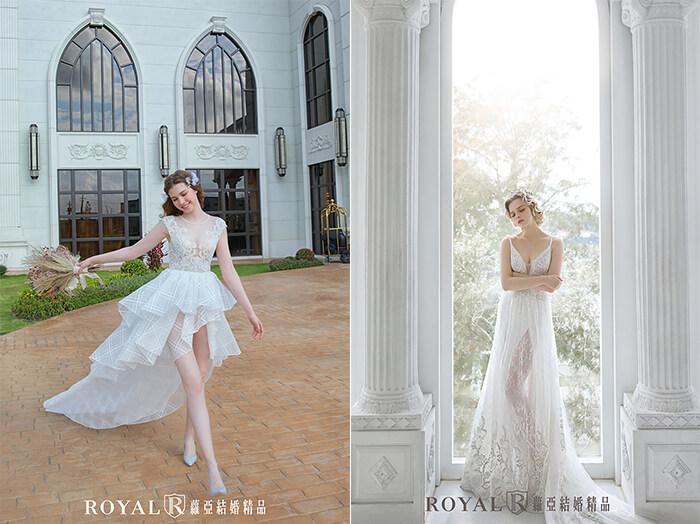 2020婚紗推薦-2020婚紗趨勢-流行婚紗禮服款式-輕盈感的婚紗-蘿亞白紗-前短後長短婚紗-法式空靈感裸紗