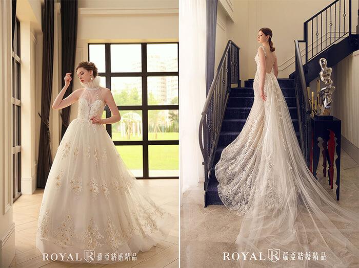2020婚紗推薦-2020婚紗趨勢-流行婚紗禮服款式-輕盈感的婚紗-蘿亞白紗-立領雙色蕾絲白紗-Aline修身白紗