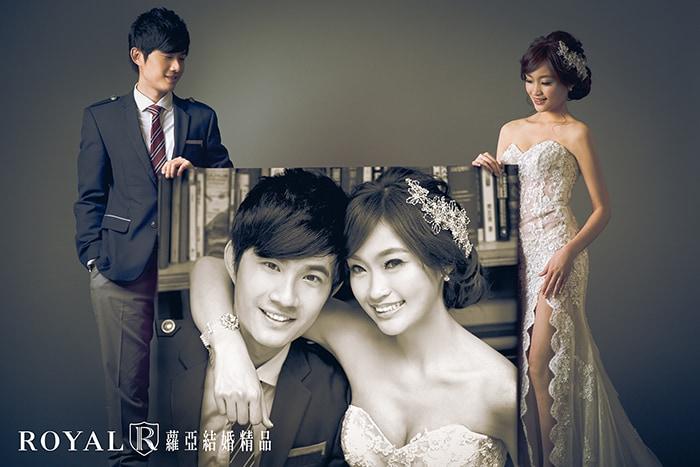 韓式婚紗-韓國婚紗-韓風婚紗-韓國婚紗攝影-合成照片是韓風婚紗照道具特色之一,在蘿亞攝影棚灰底素背景拍起來更有fu