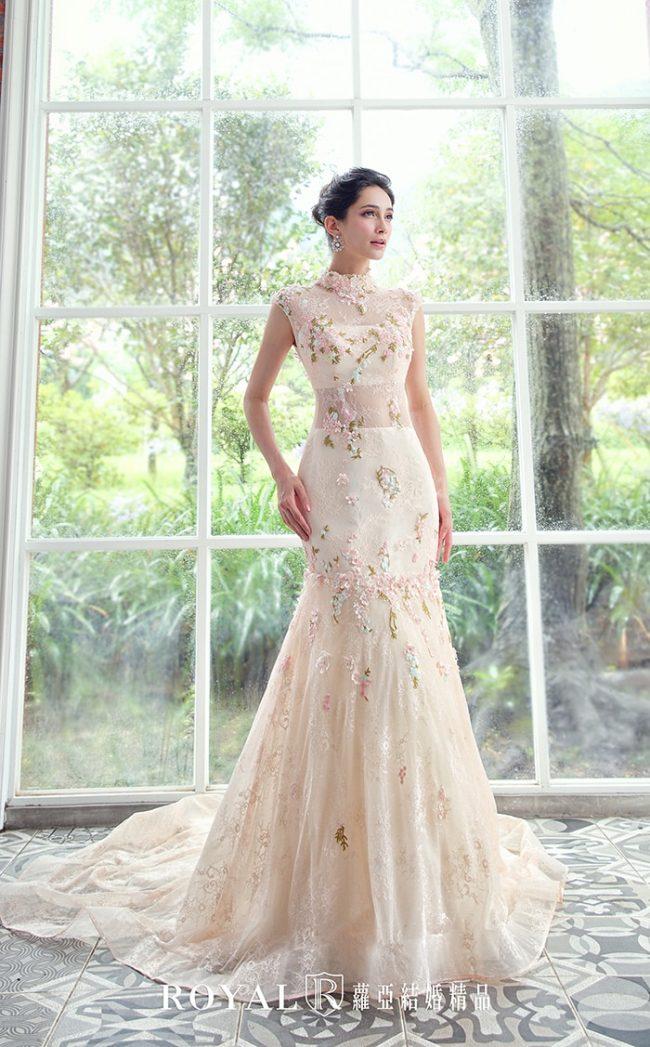 中式婚紗-旗袍婚紗-高領婚紗-粉色禮服-訂婚禮服-手工婚紗