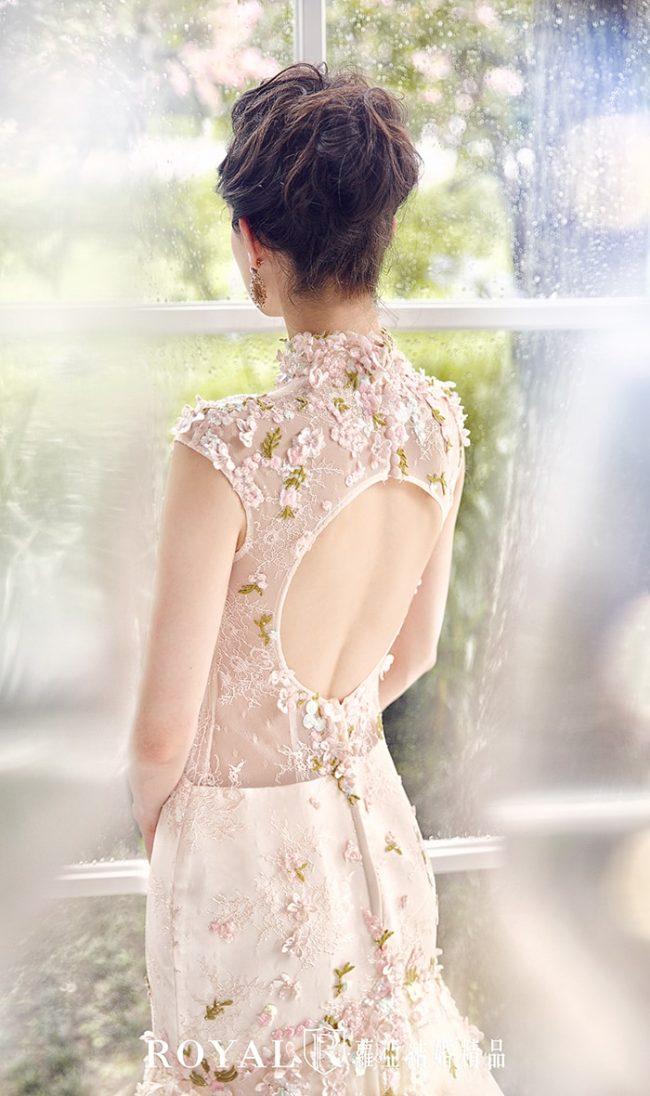 中式婚紗-旗袍婚紗-高領婚紗-粉色禮服-訂婚禮服