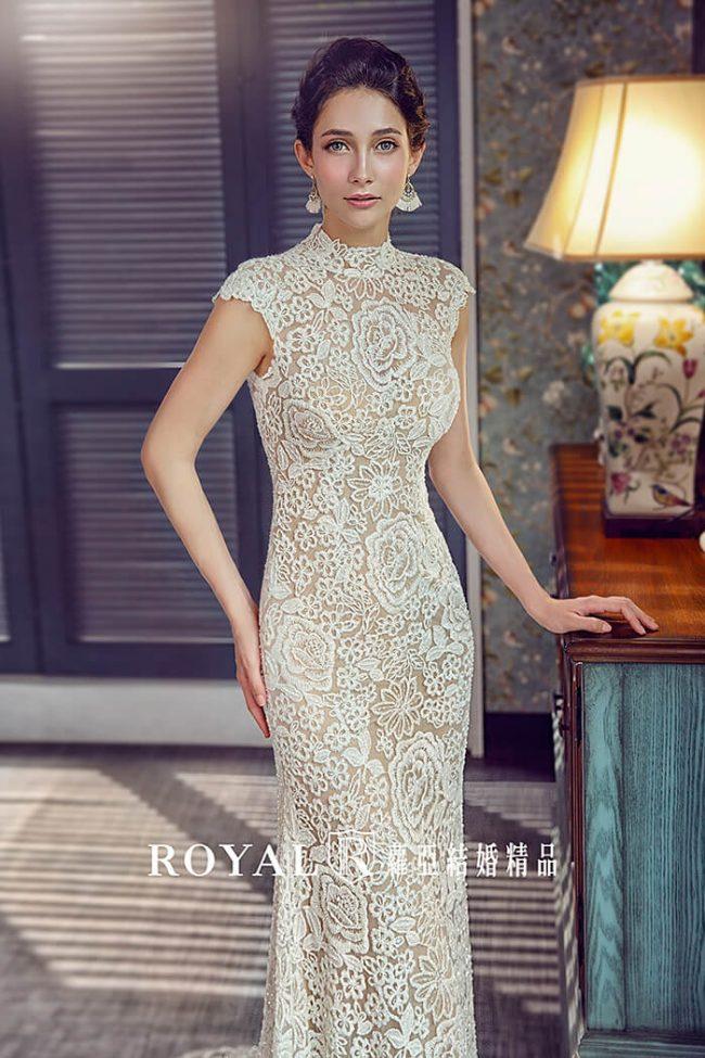中式婚紗-旗袍婚紗-魚尾婚紗-高領白紗-婚紗款式禮服