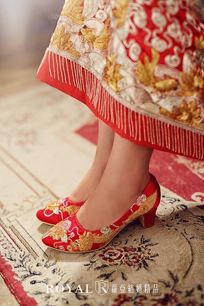 中式婚鞋-訂婚禮服-龍鳳掛-繡鞋-中式配飾