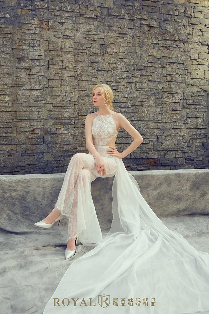 削肩婚紗-削肩白紗-婚紗款式-繞頸-褲裝婚紗-婚紗禮服款式