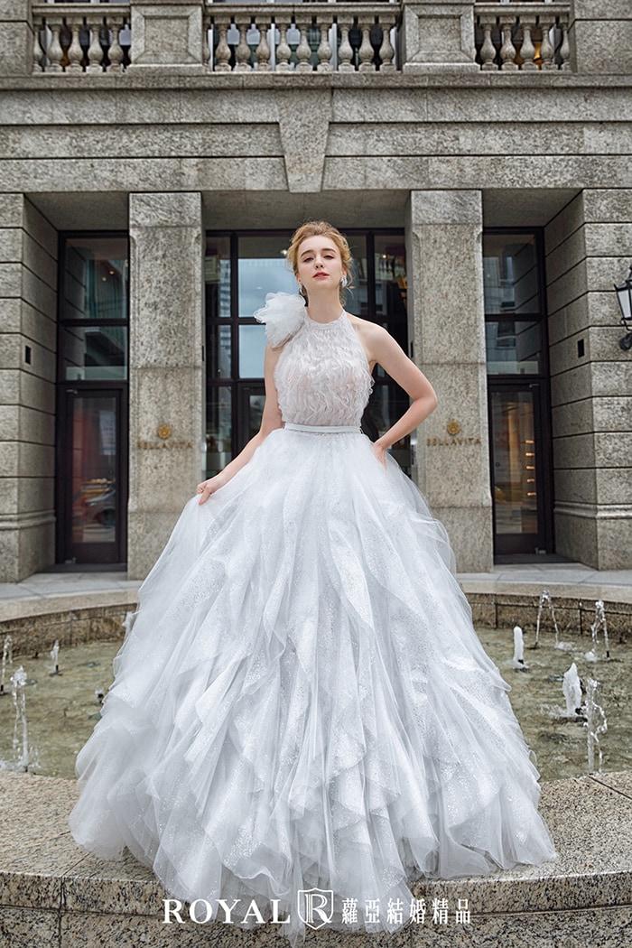 削肩婚紗-削肩白紗-繞頸婚紗-手工婚紗-婚紗禮服款式-婚紗款式2020