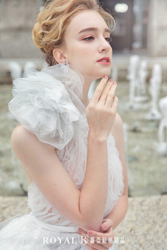 婚紗款式2020-削肩婚紗-削肩白紗-婚紗禮服款式-手工婚紗