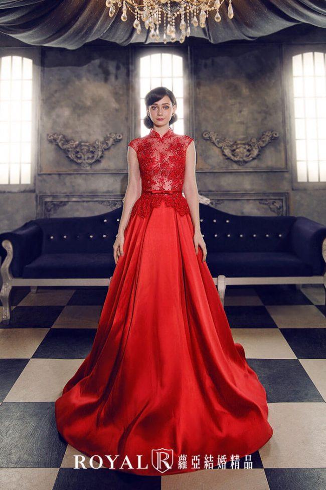 婚紗款式2020-紅色禮服-高領婚紗-緞面禮服-訂婚禮服