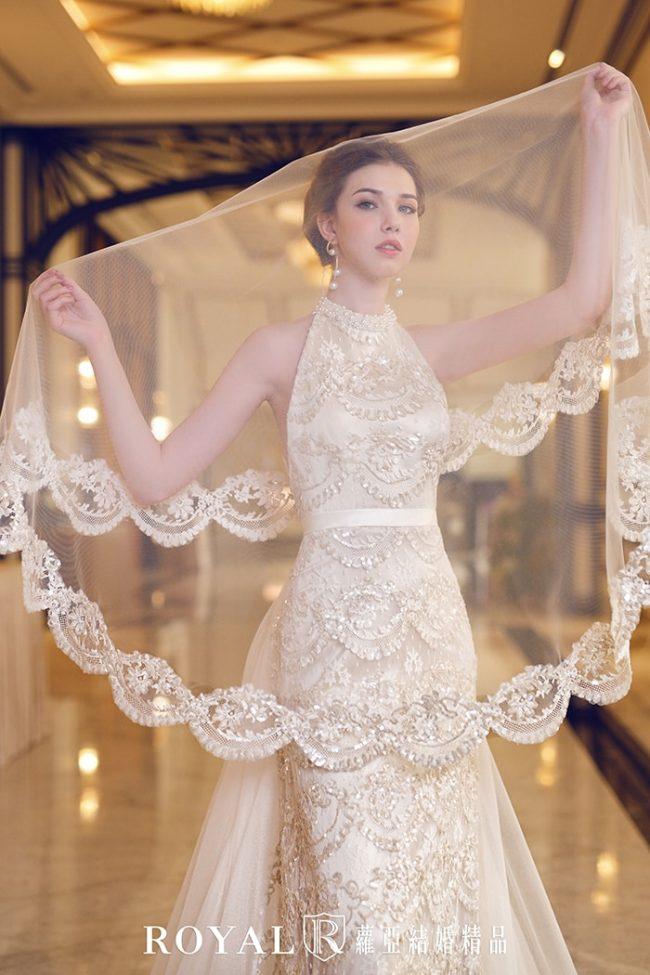 婚紗款式2020-繞頸-削肩婚紗-削肩白紗-手工婚紗-婚紗禮服款式