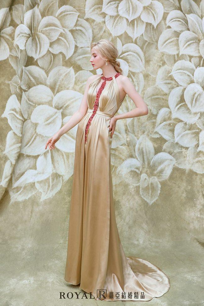 婚紗款式2020-繞頸-削肩婚紗-削肩禮服-婚紗禮服款式-手工婚紗
