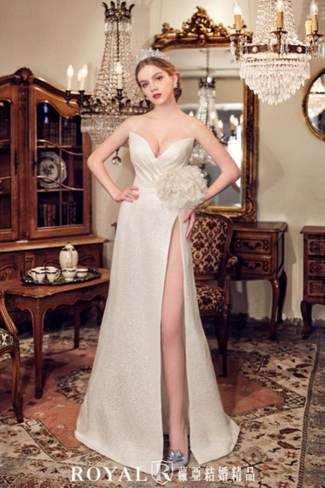 婚紗禮服款式-手工白紗-手工婚紗-開衩婚紗