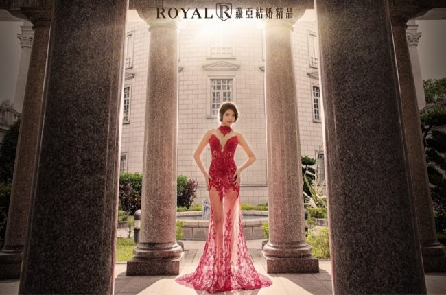 婚紗禮服款式-紅色婚紗-中式旗袍-高領婚紗-魚尾婚紗