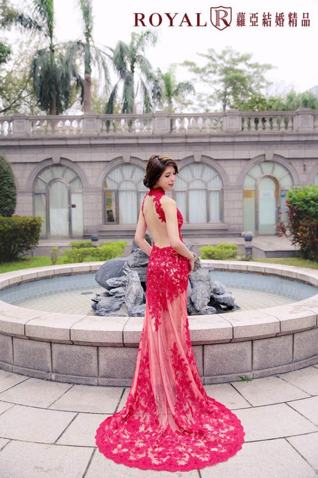 婚紗禮服款式-紅色婚紗-中式旗袍-魚尾婚紗-高領婚紗