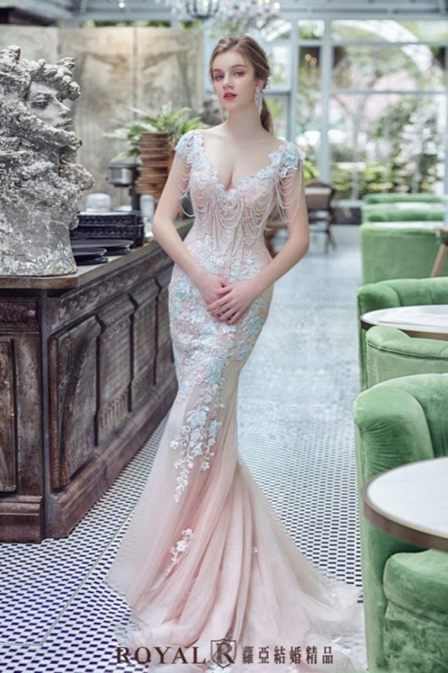 婚紗禮服款式-魚尾婚紗-婚紗款式2020-粉紅色禮服