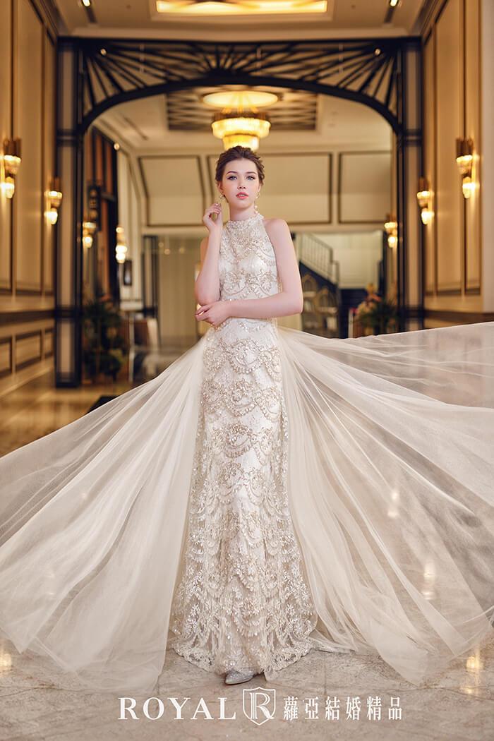 手工婚紗-婚紗款式2020-繞頸-削肩婚紗-削肩白紗-婚紗禮服款式