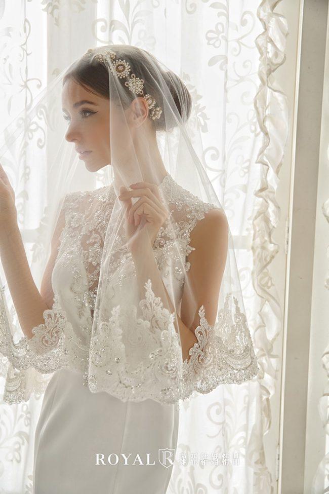 旗袍婚紗-魚尾婚紗-緞面禮服-婚紗禮服款式-高領婚紗-緞面白紗