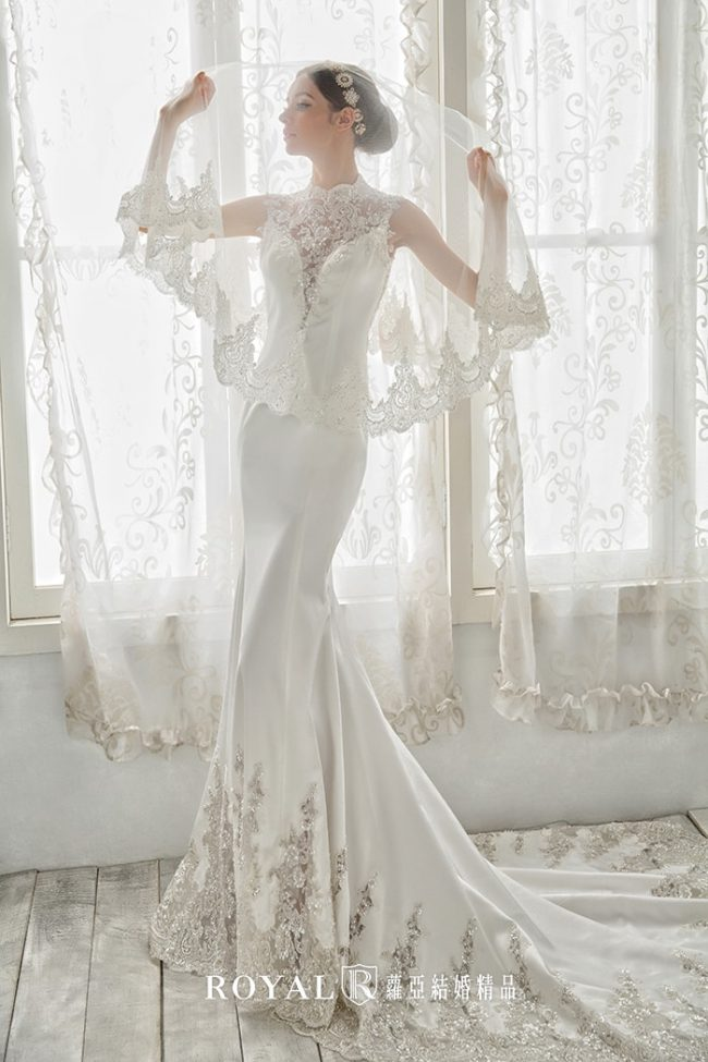 旗袍婚紗-魚尾婚紗-緞面禮服-手工禮服-婚紗禮服款式-高領婚紗