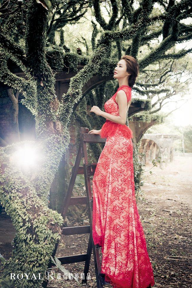 紅色旗袍婚紗-紅色禮服-訂婚禮服-手工禮服-婚紗禮服款式