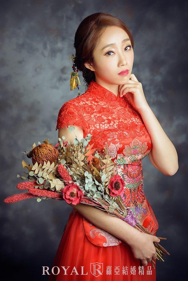 訂婚禮服-中式婚紗-古裝婚紗-紅色禮服-婚紗禮服款式