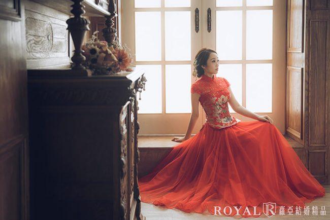 訂婚禮服-中式婚紗-古裝婚紗-紅色禮服