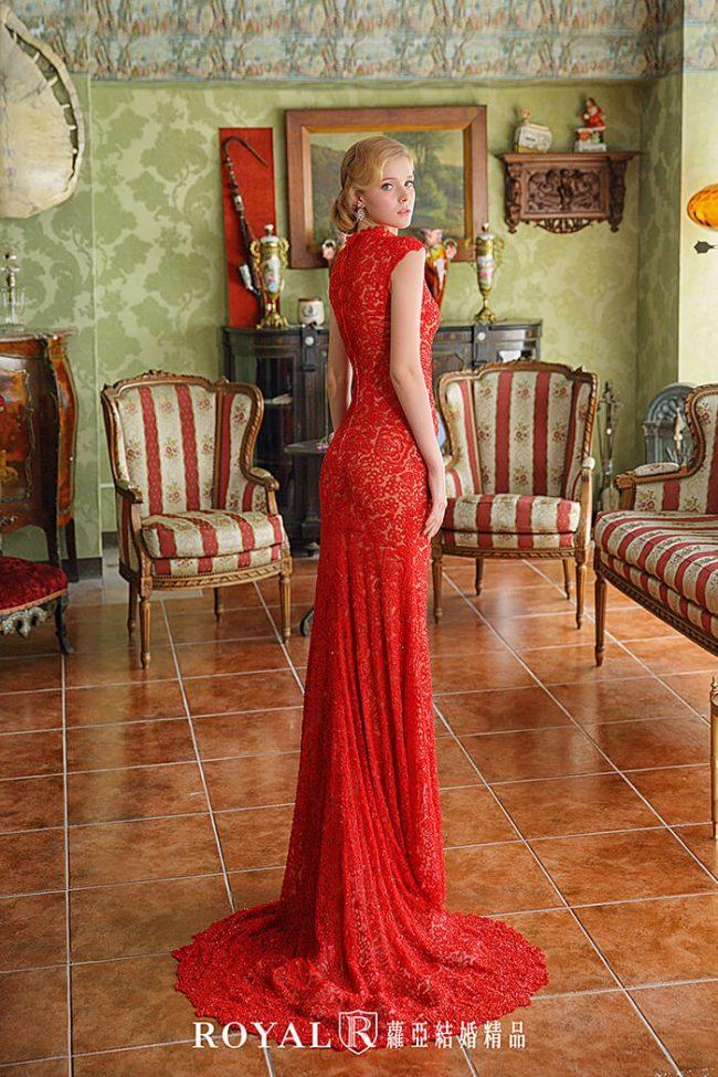 訂婚禮服-紅色旗袍婚紗-魚尾婚紗-手工禮服-婚紗禮服款式