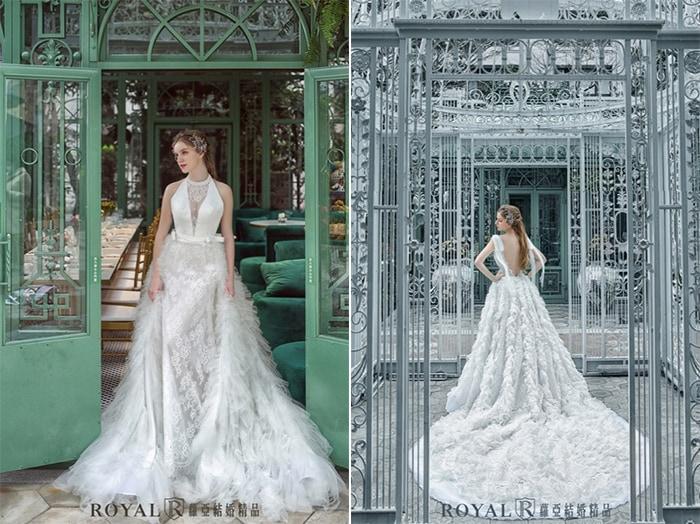 個性婚紗-個性禮服-深V領-網紗-2020婚紗流行趨勢-台北蘿亞婚紗