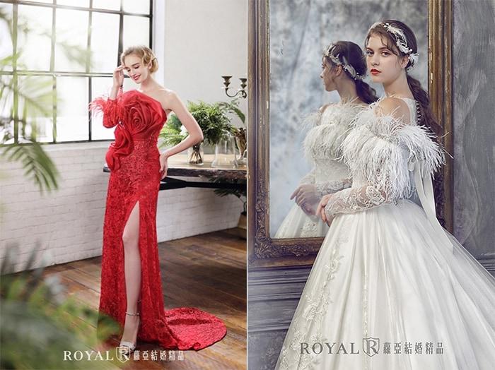 個性婚紗-紅色婚紗-羽毛婚紗-2020婚紗流行趨勢-台北蘿亞婚紗