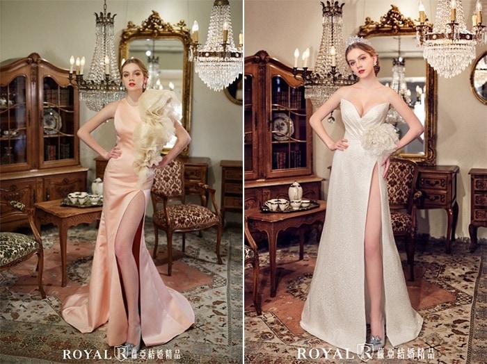 紅毯禮服-宴客禮服-高衩-華麗-深V禮服-2020婚紗流行趨勢-台北蘿亞婚紗
