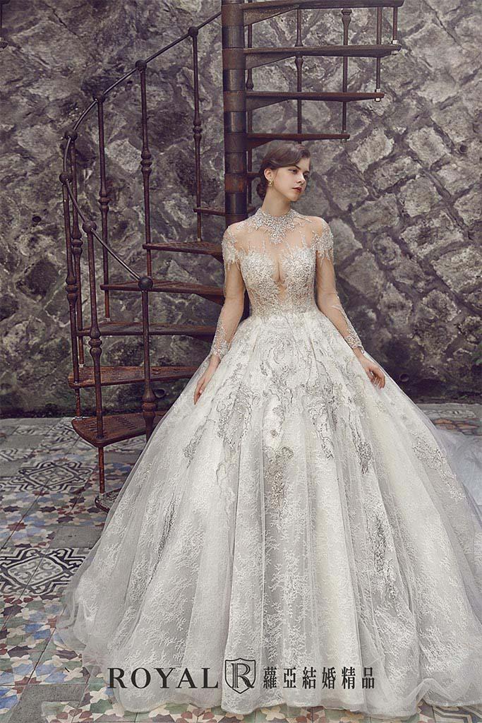 白紗-禮服-白紗款式-宮廷氣勢白紗-婚紗照-拍婚紗-台北-蘿亞婚紗