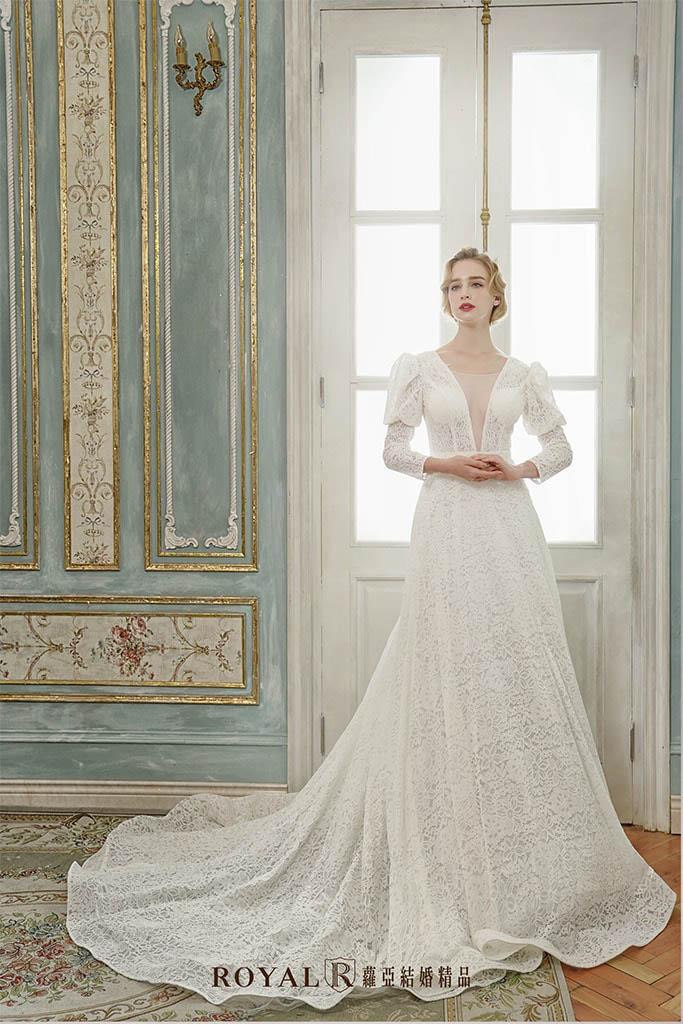 白紗-禮服-白紗款式-歐式長袖白紗-婚紗照-拍婚紗-台北-蘿亞婚紗
