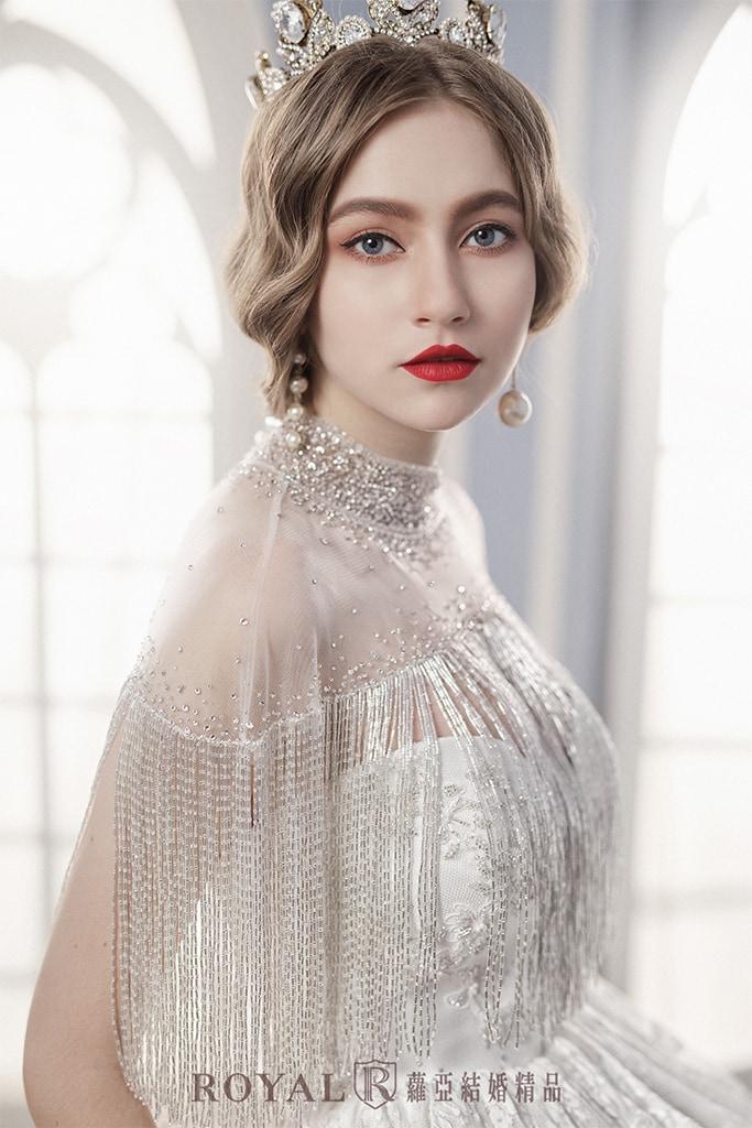 白紗-禮服-白紗款式-流蘇披肩白紗-婚紗照-拍婚紗-台北-蘿亞婚紗