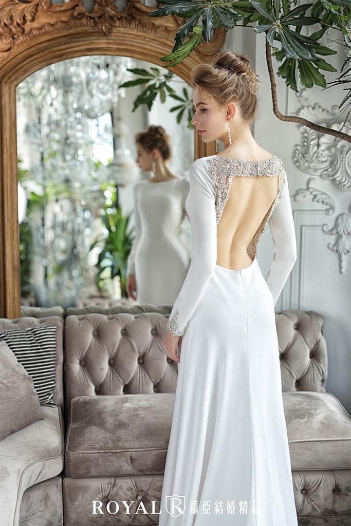 白紗-禮服-白紗款式-美背長袖白紗-婚紗照-拍婚紗-台北-蘿亞婚紗