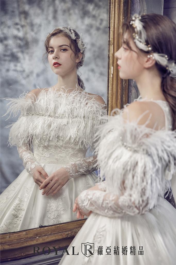 白紗-禮服-白紗款式-羽毛裝飾長袖白紗-婚紗照-拍婚紗-台北-蘿亞婚紗