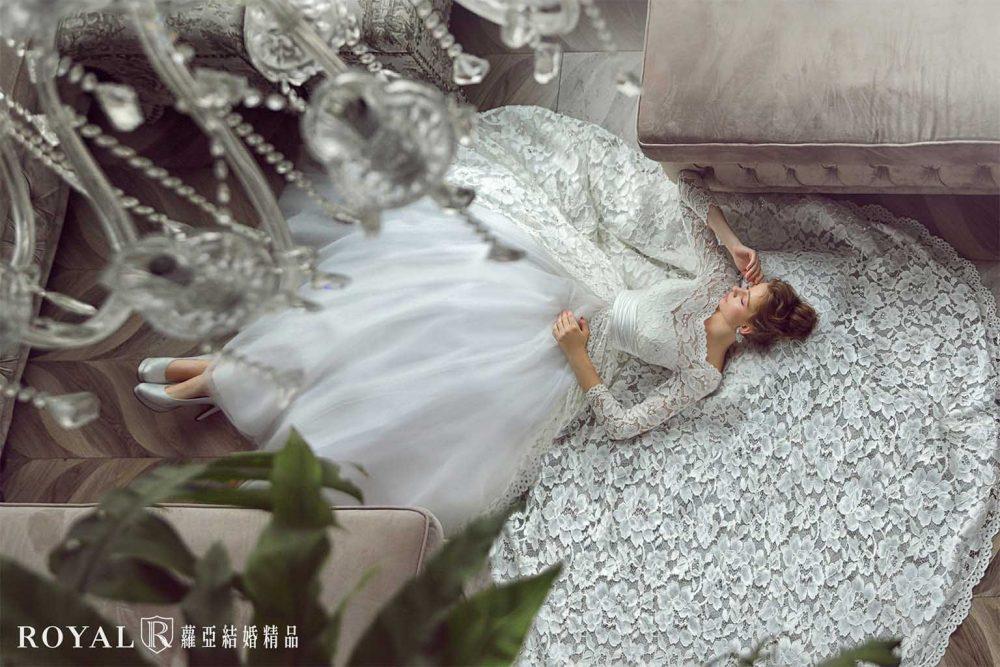 白紗-禮服-白紗款式-英式蕾絲古典白紗-婚紗照-拍婚紗-台北-蘿亞婚紗