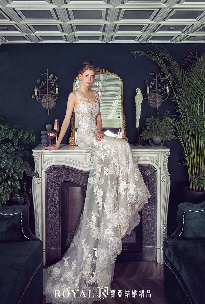 白紗-禮服-白紗款式-裸紗魚尾白紗-婚紗照-拍婚紗-台北-蘿亞婚紗
