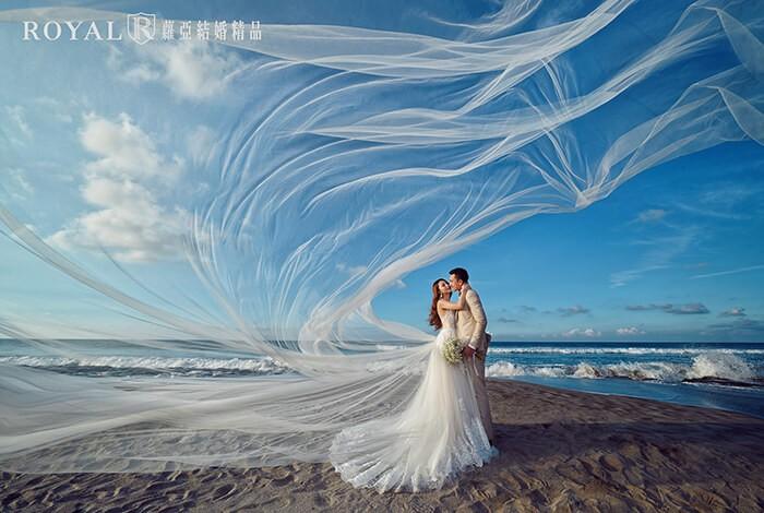 長頭紗-頭紗婚紗照-氣勢婚紗照-簡單路線-海邊-台北-婚紗照-拍婚紗-蘿亞婚紗