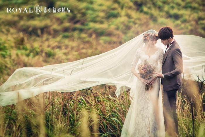 長頭紗-頭紗婚紗照-氣勢婚紗照-簡單路線-草地-台北-婚紗照-拍婚紗-蘿亞婚紗